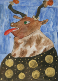 """Cow With Horns, 8.5x12"""" (2015)"""