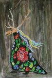 """Deer In The Forest, 9.5x14"""" (2015)"""